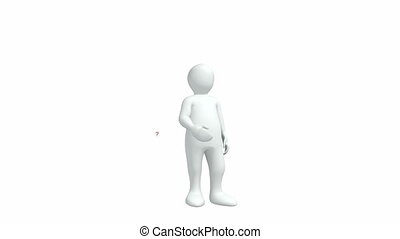 3d-man, blanc, contre, fond