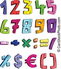 3d, nombres, dessin animé