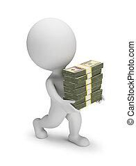 3d, -, petit, dollars, gens, piles, porte
