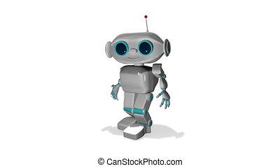 3d, peu, animation, robot, blanc