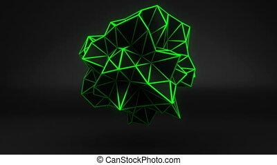 3d, polygonal, forme, vert, black., boucle, lueur