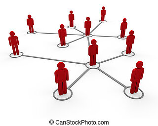 3d, réseau, rouges, équipe