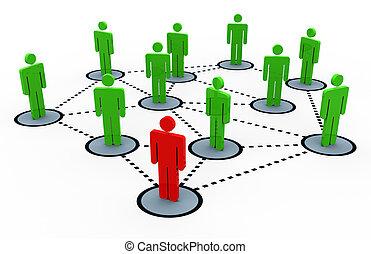 3d, réseau, social