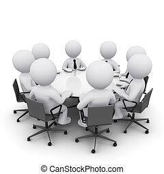 3d, réunion, homme affaires