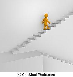 3d, rendu, illustration., homme, escaliers.