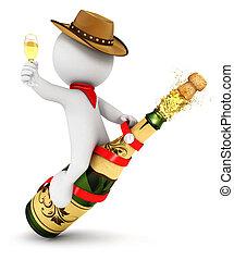 3d, rodéo, champagne, blanc, gens
