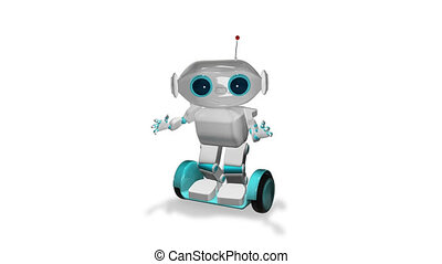 3d, scooter, animation, robot, blanc