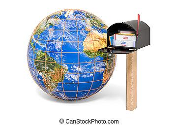 3d, service postal, la terre, global, boîte lettres, rendre, concept., globe.