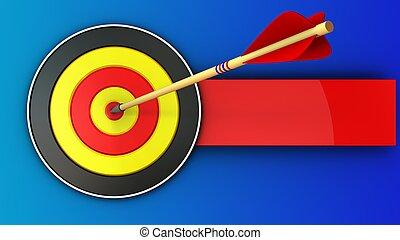 3d, succès, cible, flèche, rond