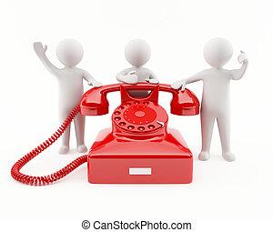 3d, téléphone, rouges, gens