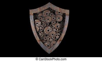 3d, threats., engrenage, externe, protection, mechanism., illustration., information., contre
