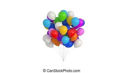 3d, ultra, ballons, alpha, 4k, blanc, hd, channel., animation, beau, mat, 3840x2160, arrière-plan., paquet