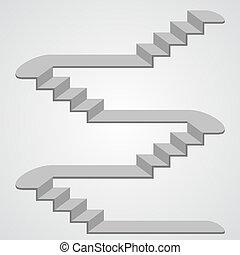 3d., vecteur, escalier