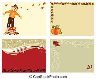 4, ensemble, cartes, automne