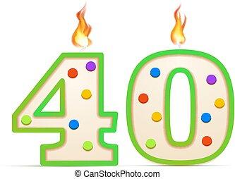 40, bougie, formé, brûler, anniversaire, blanc, années, quarante, nombre, anniversaire