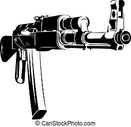 47, ak, fusil, illustration, machine, vecteur, noir, blanc