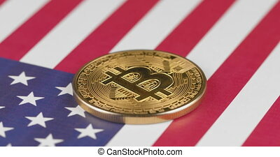 4k, amérique, drapeau, doré, bitcoin, uni, cryptocurrency, usa, etats, cercle, tourner