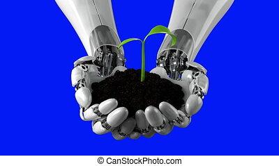4k, défaillance, bleu, hd, tient, robotique, passe, ultra, profondeur, 3840x2160, élevé, sol, croissant, temps, champ, bras, plante, 3d animation, détaillé, beau, conceptuel, arrière-plan.