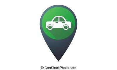 4k, pointer., illustration, voiture, animé, icône