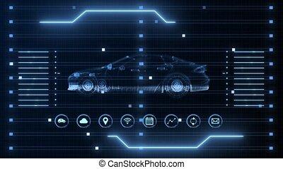 4k, sci, bleu, technologie, animation, hologramme, fi, résumé, holographic