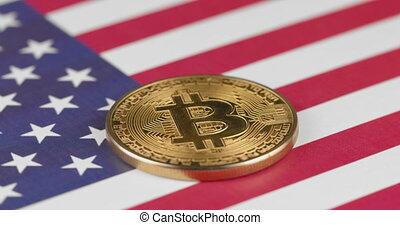 4k, usa, uni, doré, cryptocurrency, etats, amérique, drapeau, tourner, bitcoin, cercle