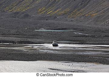 4wd, secteur, iceland., eyjafjalajokul, vehicle., horizontal, rivière
