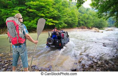 4x4, touriste, regarder, sac à dos, pagaie, véhicule, croisement, rivière, homme