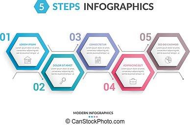 5, étapes, infographics