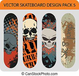 5, conception, skateboard, meute