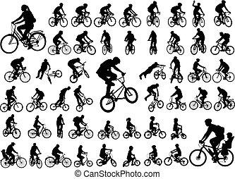 50, collection, élevé, silhouettes, cyclistes, qualité