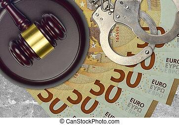 50, police, concept, euro, menottes, desk., marteau, judiciaire, bribery., ou, impôt, factures, juge, tribunal, action éviter, procès