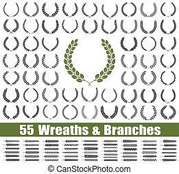 55, set., vecteur, branches, couronnes