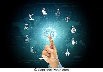 5g, concept, réseau, internet