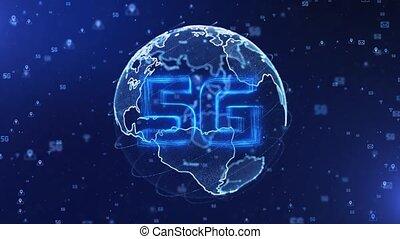 5g, globe, la terre, collaboration, grand, marbre bleu, tourner, nuages, animation., données, numérique, boucle