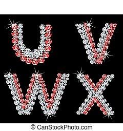 (6), diamant, vecteur, letters., ensemble, alphabétique