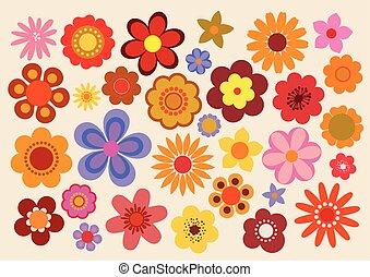 60s/70s, vendange, fleurs