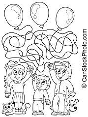 8, coloration, enfants, livre, labyrinthe