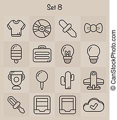 8, ensemble, contour, icônes