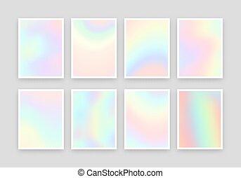 8, holographic, réaliste, arrière-plans, design., couleurs, ensemble, différent