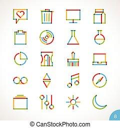 8, ligne, vecteur, highlighter, icônes
