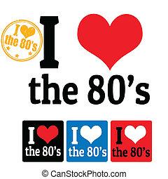 80, étiquettes, amour, signe