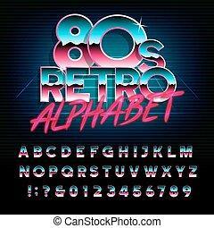 80, alphabet, lettres, effet, retro, numbers., métallique, type, font.