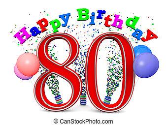 80th, anniversaire, heureux