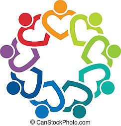 9, coeur, image, équipe, logo