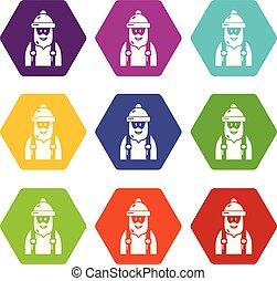 9, ensemble, charpentier, vecteur, icônes