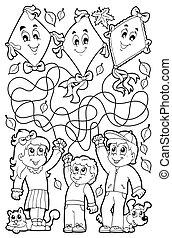 9, labyrinthe, livre coloration, enfants