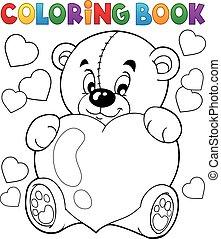 9, thème, livre coloration, valentin