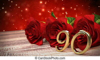 90th., bois, roses, anniversaire, desk., boucle, birthday., fond, rouges, render, seamless, ninetieth, 3d