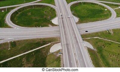 aérien, été, chaud, light., vehicles., route, infrastructure, vue, concept., en mouvement, échange, doux, suburbain, peu, day.