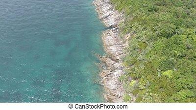 aérien, île, rochers, exotique, mer, vagues, briser, vue